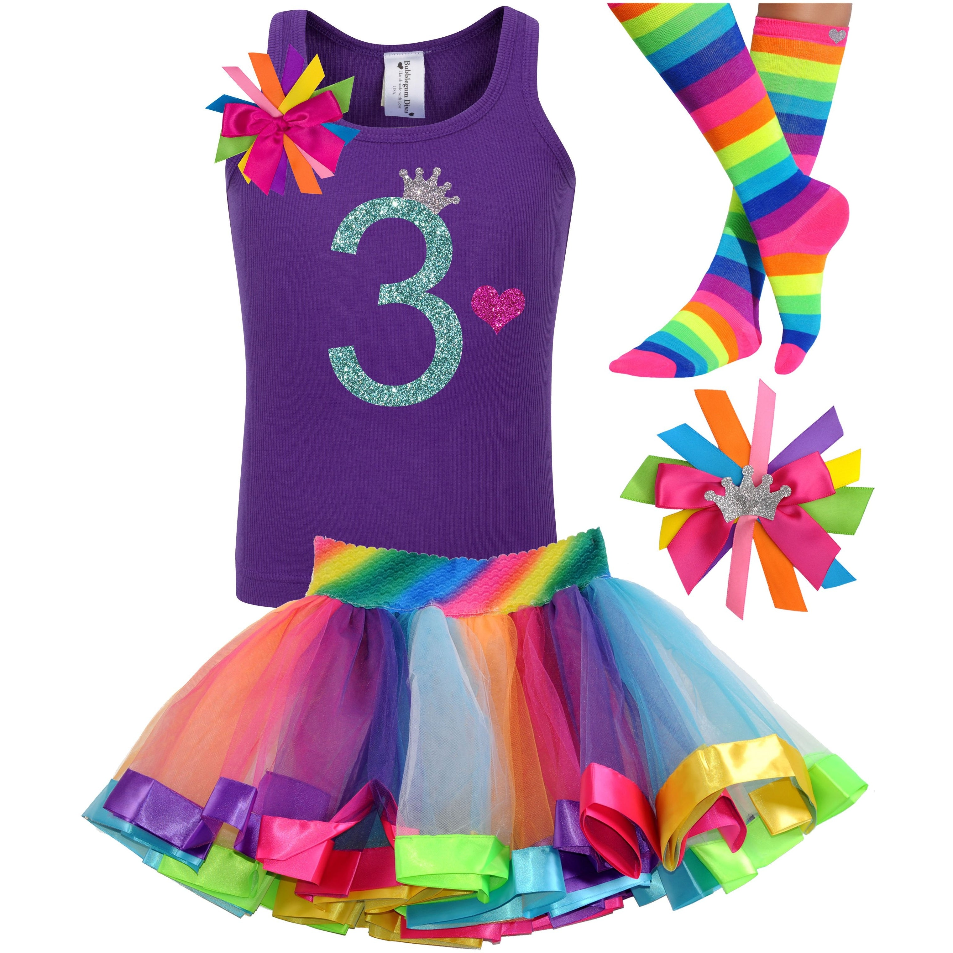 3rd Birthday Jade Glitter Shirt Girls Rainbow Tutu Party Outfit 4PC Set - Outfit - Bubblegum Divas Store