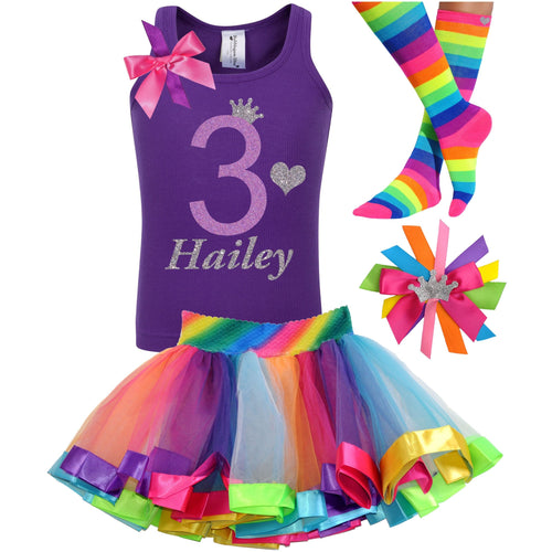 3rd Birthday Lavender Glitter Shirt Girls Rainbow Tutu Party Outfit 4PC Set