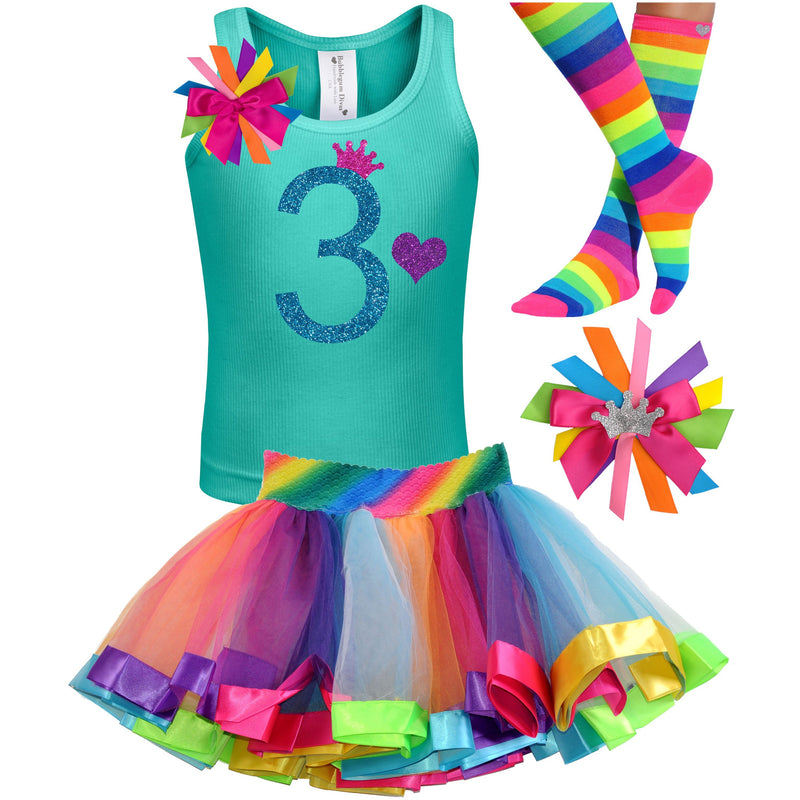 3rd Birthday Blue Glitter Shirt Girls Rainbow Tutu Party Outfit 4PC Set - Outfit - Bubblegum Divas Store