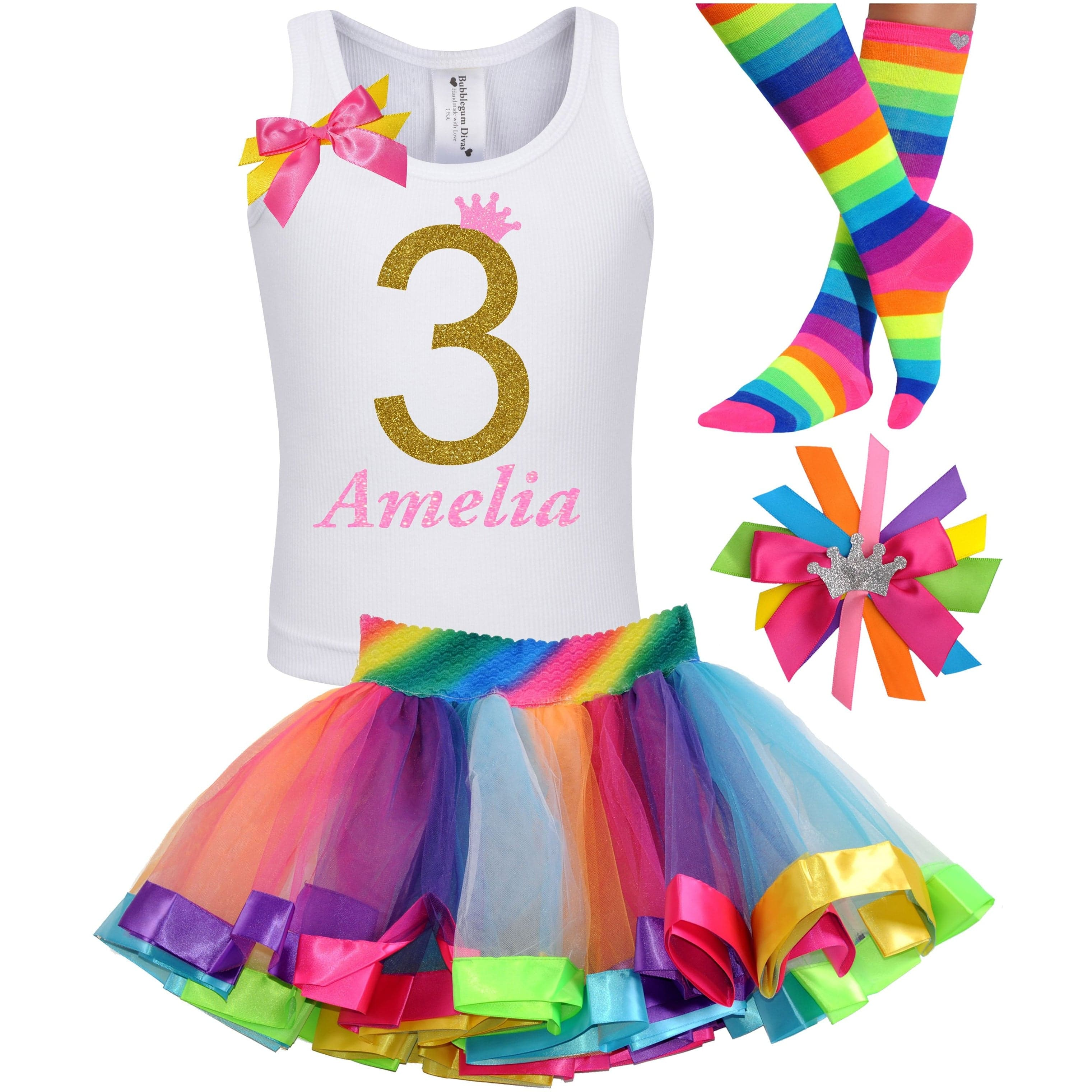3rd Birthday Gold Glitter Shirt Girls Rainbow Tutu Party Outfit 4PC Set - Outfit - Bubblegum Divas Store