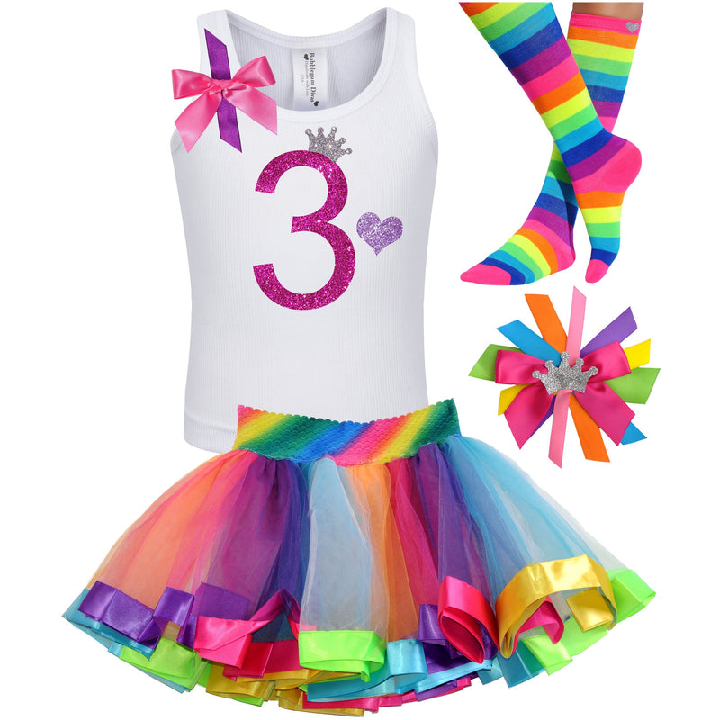 3rd Birthday Hot Pink Glitter Shirt Girls Rainbow Tutu Party Outfit 4PC Set - Outfit - Bubblegum Divas Store