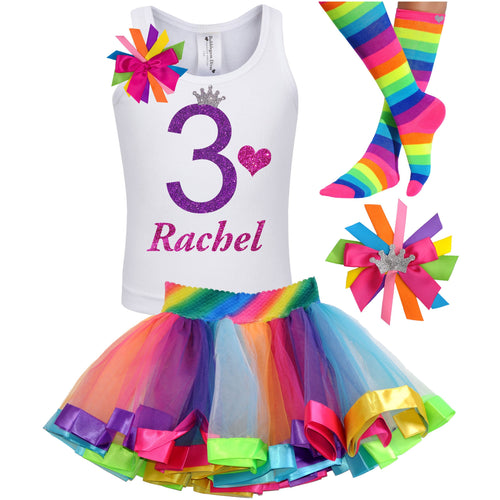 3rd Birthday Purple Glitter Shirt Girls Rainbow Tutu Party Outfit 4PC Set