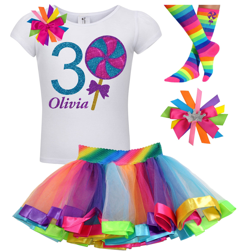 Lollipop Blueberry Swirl 3rd Birthday - Lollipop Birthday Outfits Baby Toddler Girls - Bubblegum Divas Store
