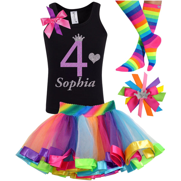 4th Birthday Shirt Rainbow Tutu Girls Party Outfit 4PC Set - Outfit - Bubblegum Divas Store