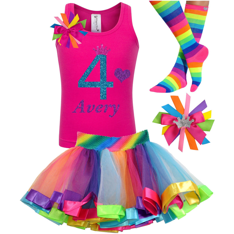 4th Birthday Outfit - Blue Cherry Twist - Outfit - Bubblegum Divas Store