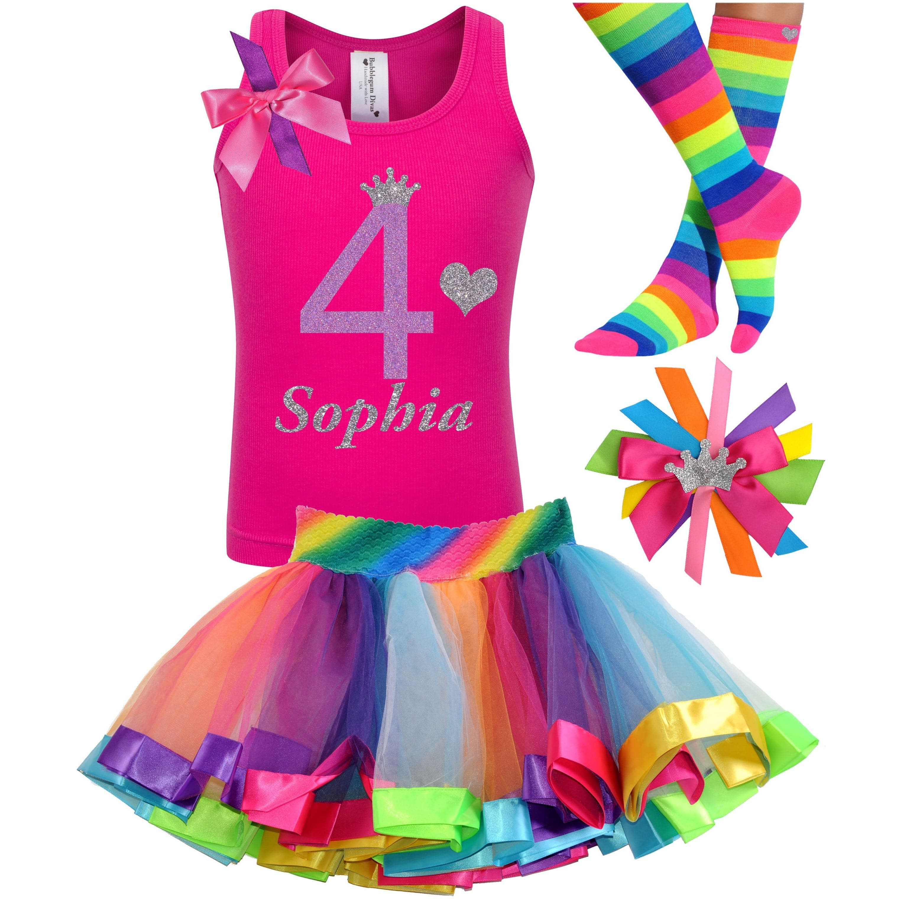 4th Birthday Shirt Rainbow Tutu Girls Party Outfit 4PC Set