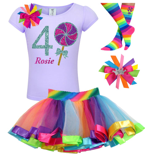 Lollipop Shirt 4th Birthday Girls Rainbow Tutu Party Outfit 4PC Set