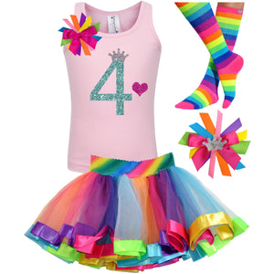 4th  Birthday Shirt Rainbow Tutu Outfit