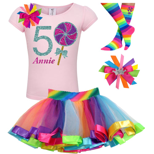 Lollipop Shirt 5th Birthday Girls Rainbow Tutu Party Outfit 4PC Set