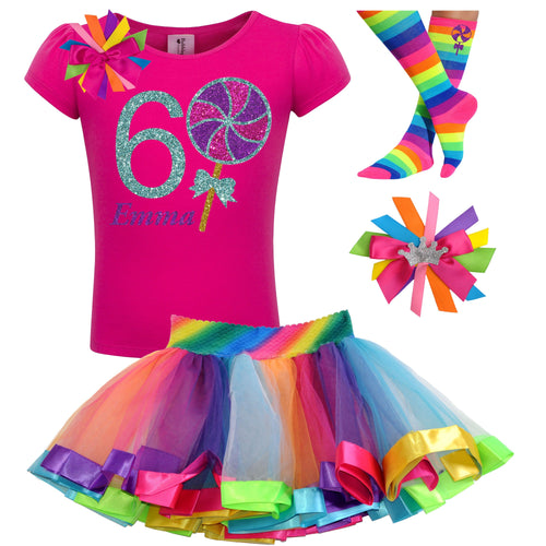 6th Birthday Lollipop Shirt Rainbow Tutu Girls Party Outfit 4PC Set