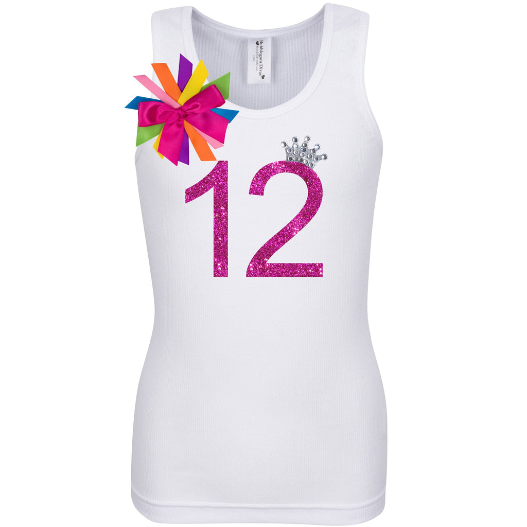 12th Birthday Shirt - Girls Shirt - White - Bubblegum Divas Store