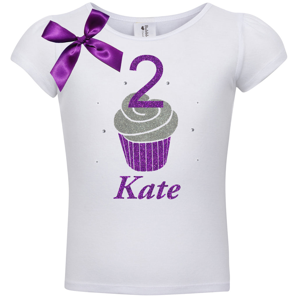 2nd Birthday Shirt - Purple Berry Cupcake - Shirt - Bubblegum Divas Store