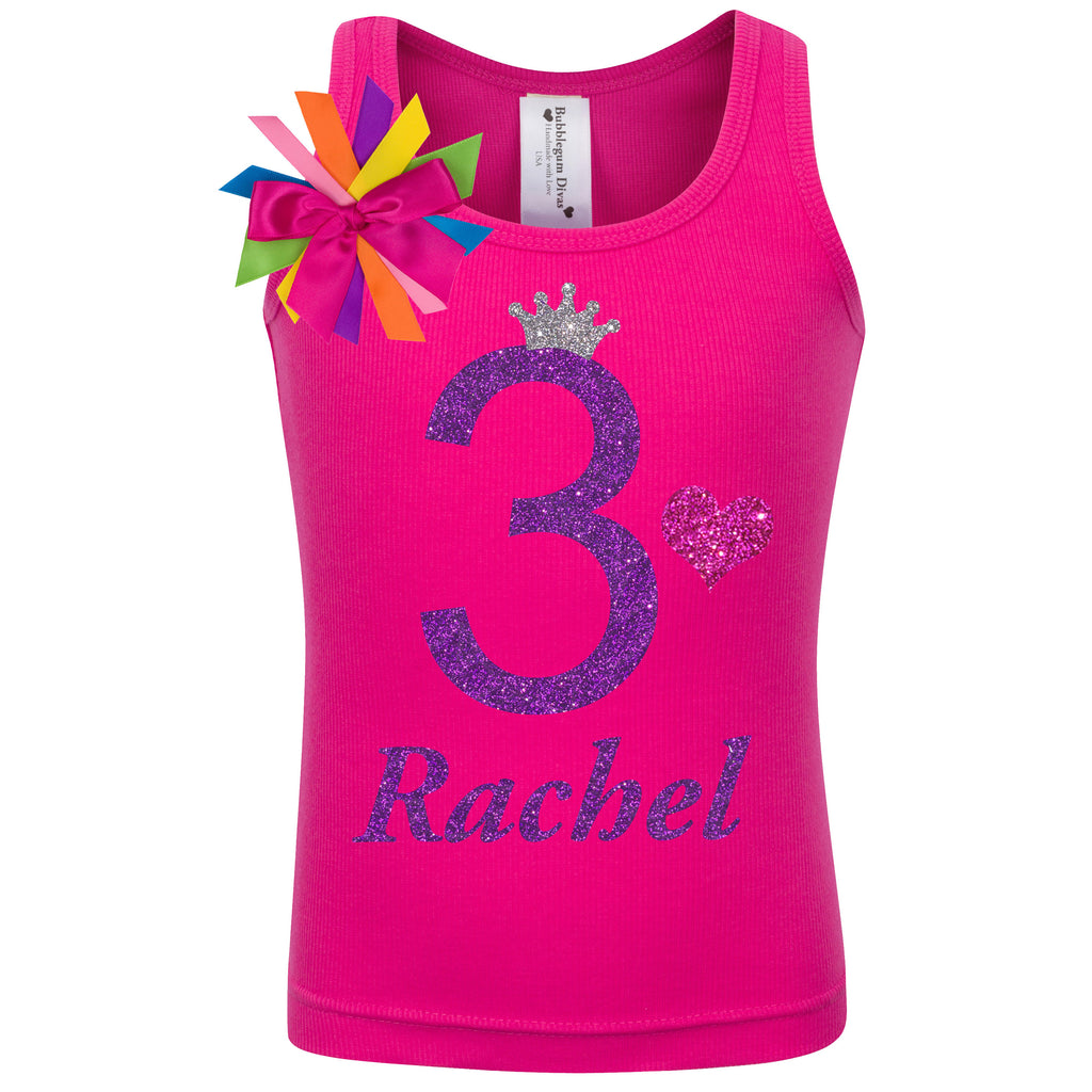 3rd Birthday Shirt - Purple Bubble Sparkle - Shirt - Bubblegum Divas Store