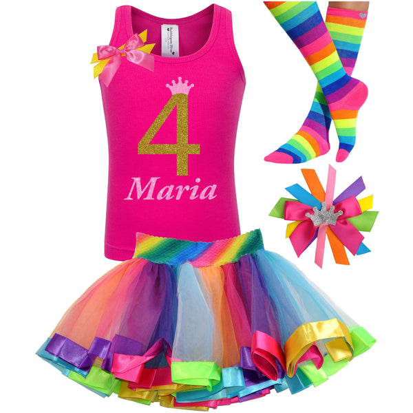 4th Birthday Gold Rainbow Outfit - Outfit - Bubblegum Divas Store