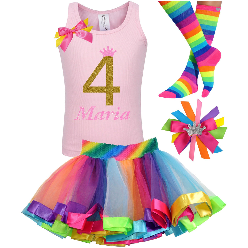 Golden Caramel 4th Birthday - Outfit - Bubblegum Divas Store