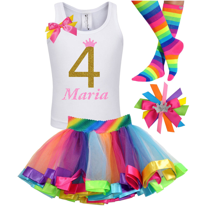 4th Birthday Outfit - Golden Caramel - Outfit - Bubblegum Divas Store