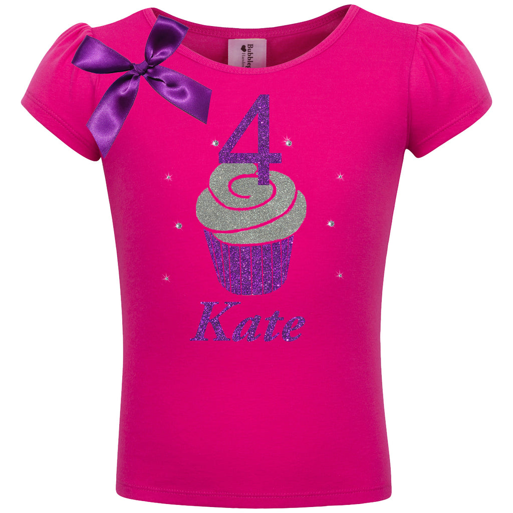 4th Birthday Shirt - Purple Berry Cupcake - Shirt - Bubblegum Divas Store
