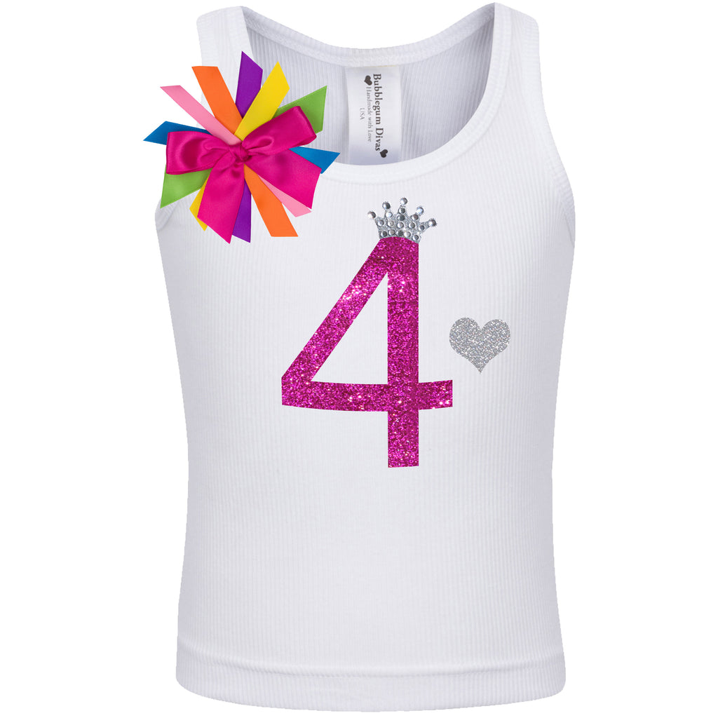 4th Birthday Shirt - Diamond Cherry - Shirt - Bubblegum Divas Store
