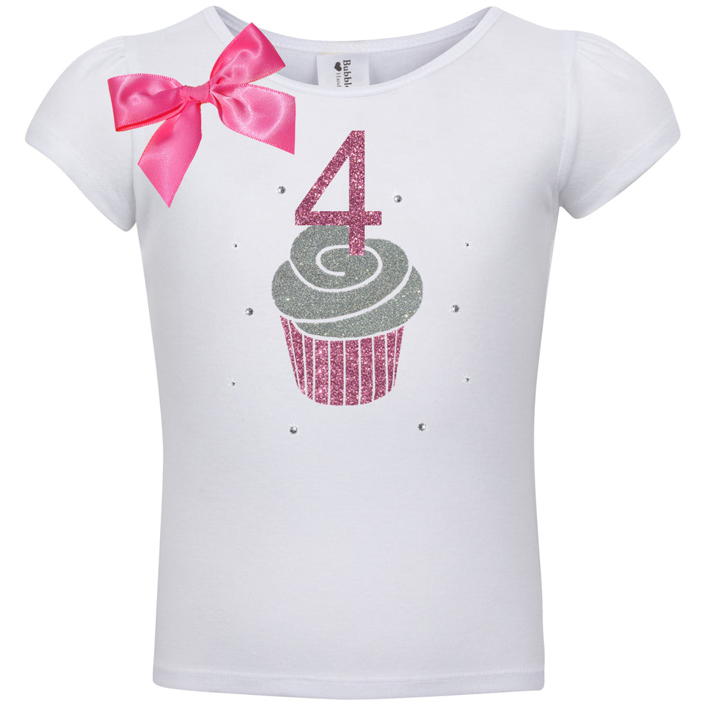 4th Birthday Shirt - Pink Cupcake - Shirt - Bubblegum Divas Store