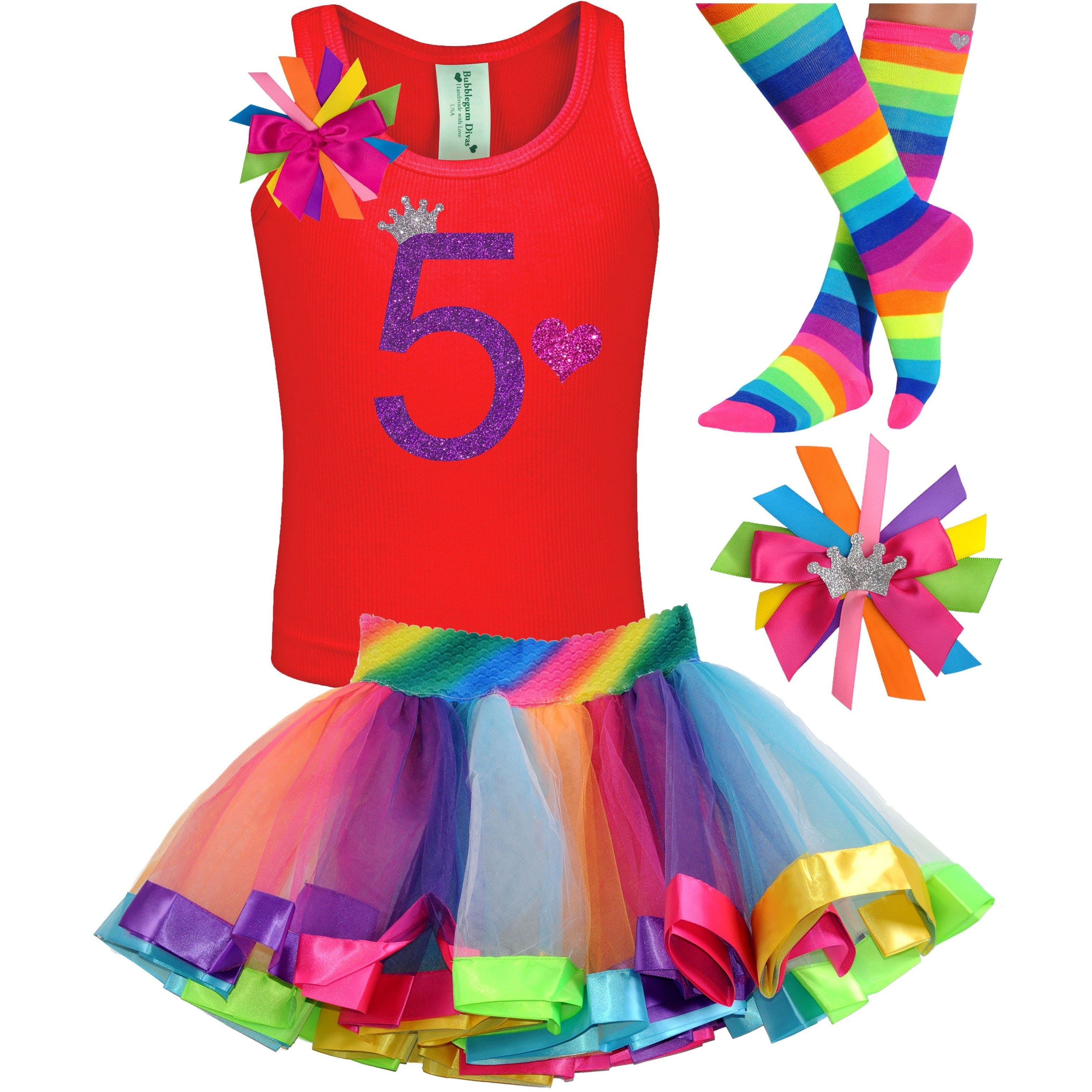 5th Birthday Shirt Rainbow Tutu Girls Party Outfit 4PC Set - Outfit - Bubblegum Divas Store