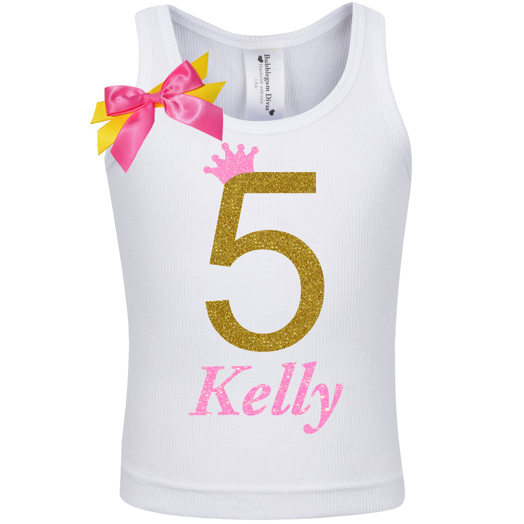 5th Birthday Shirt - Golden Caramel - Shirt - Bubblegum Divas Store