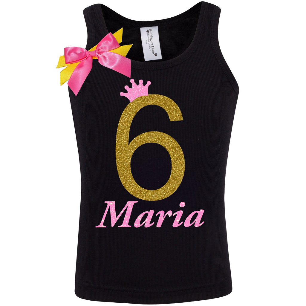 6th Birthday Shirt - Golden Caramel - Shirt - Bubblegum Divas Store