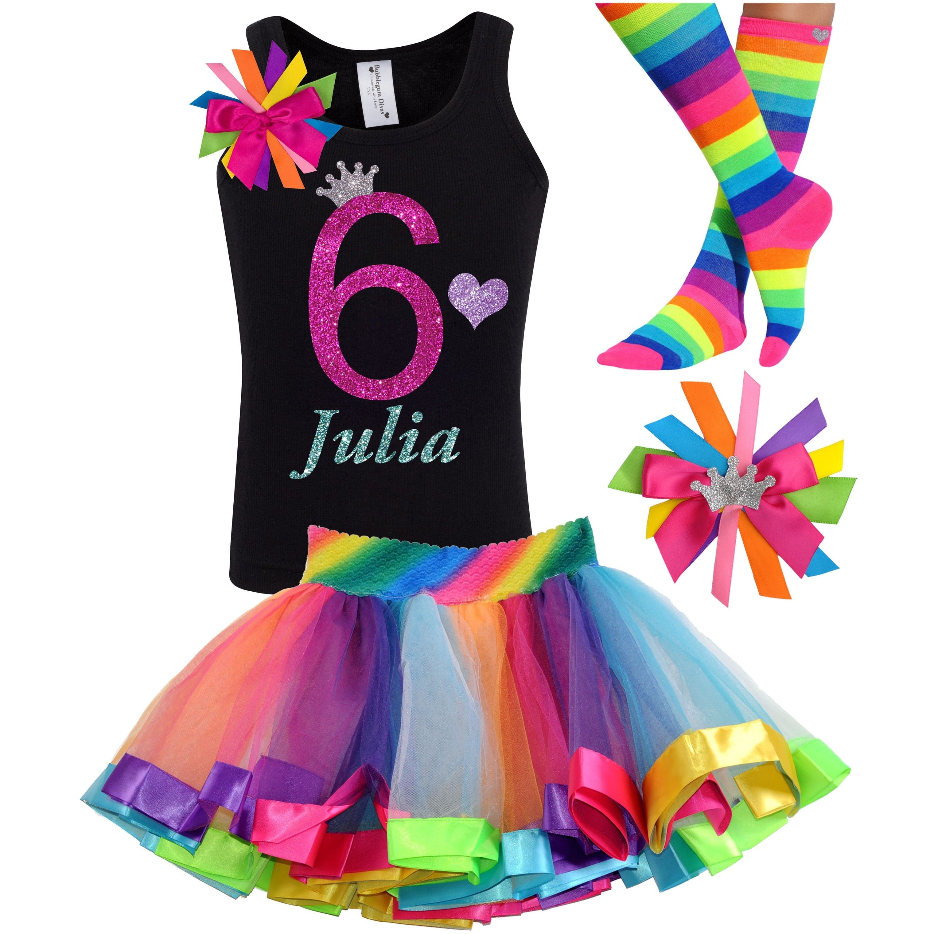 6th Birthday Shirt Rainbow Tutu Girls Party Outfit 4PC Set - Outfit - Bubblegum Divas Store