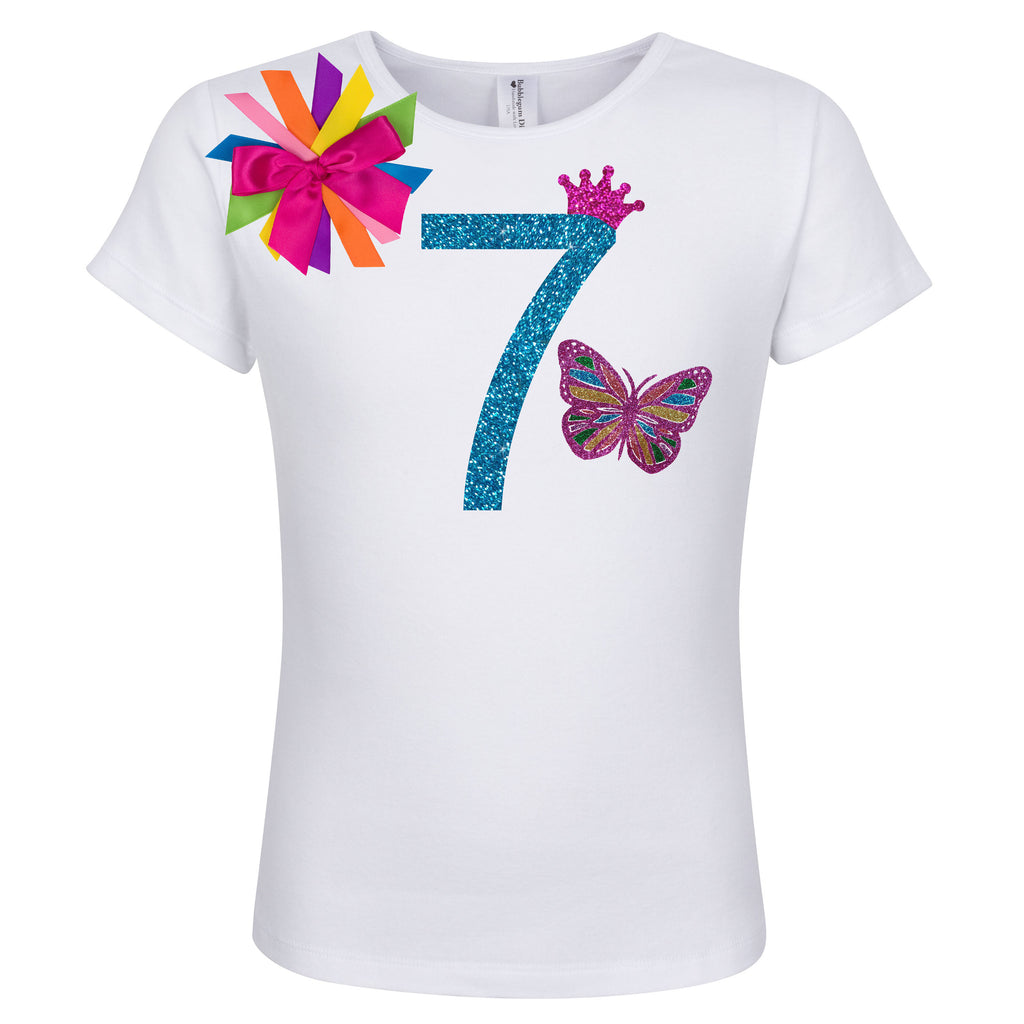 7th Birthday Girl Outfit - Rainbow Butterfly