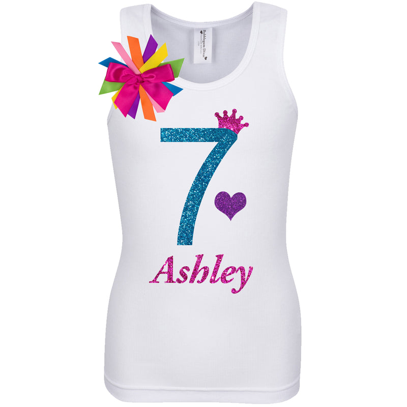 7th Birthday Shirt - Blue Cherry Twist - Shirt - Bubblegum Divas Store