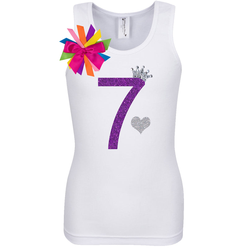 7th Birthday Shirt - Diamond Grape