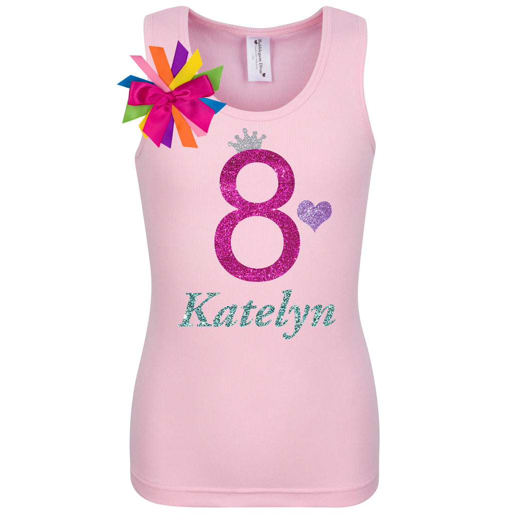 8th Birthday Shirt - Bubble Berry Sparkle - Shirt - Bubblegum Divas Store