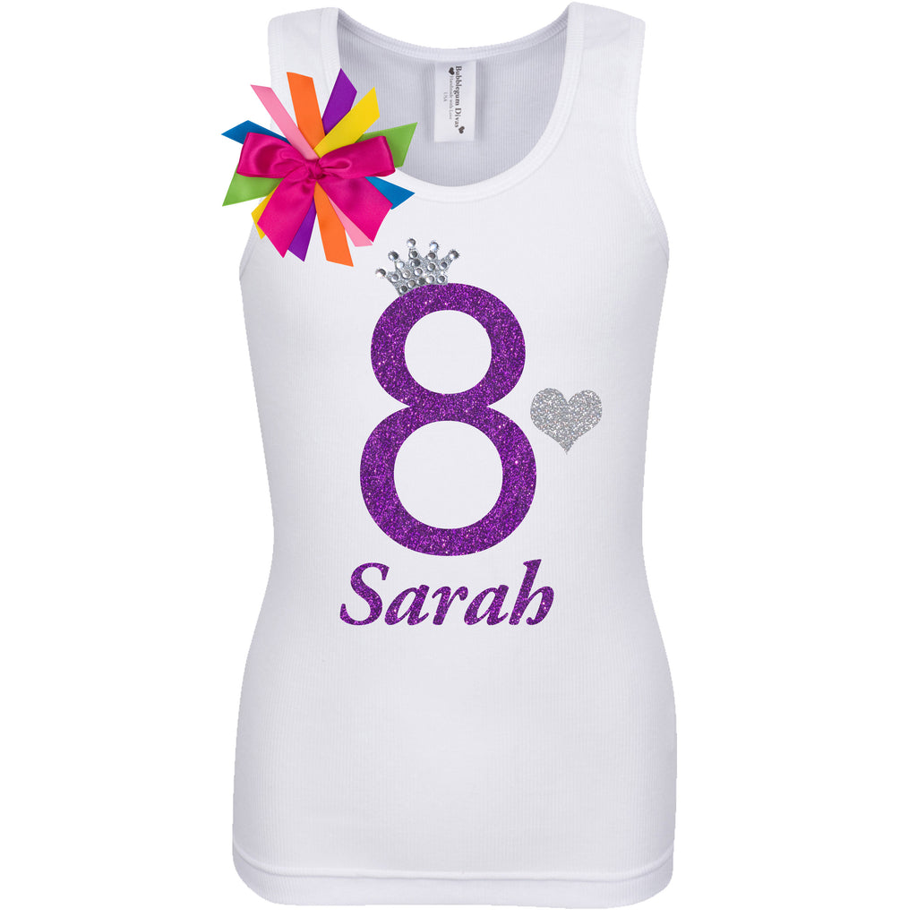 8th Birthday Shirt - Diamond Grape - Shirt - Bubblegum Divas Store