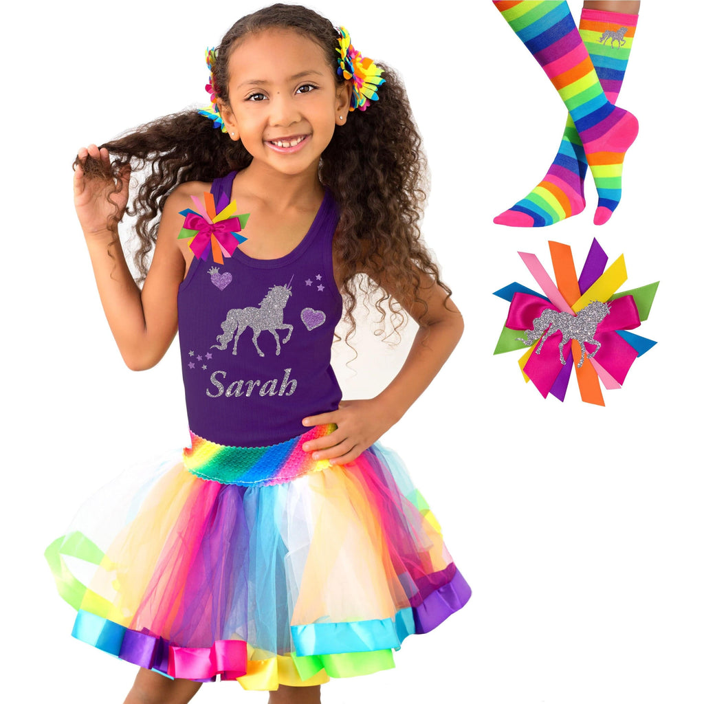 Unicorn Shirt Rainbow Tutu Girls Birthday Party Outfit 4PC Set - Outfit - Bubblegum Divas Store