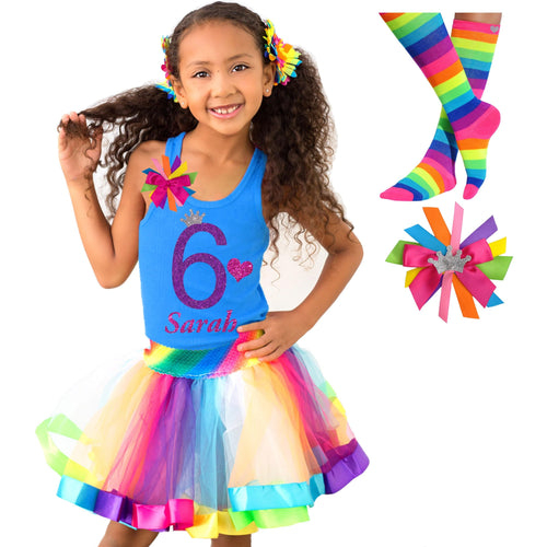 6th Birthday Shirt Rainbow Tutu Girls Party Outfit 4PC Set