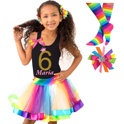 6th Birthday Shirt Gold Glitter Girls Rainbow Tutu Party Outfit 4PC Set 6