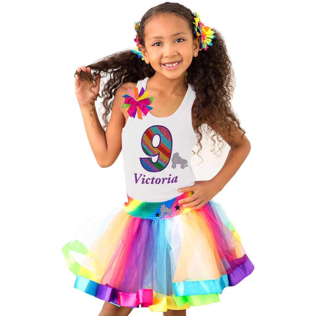 9th Birthday Girl Skate Silver Dash Party Outfit Rainbow - Outfit - Bubblegum Divas Store