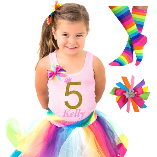 5th Birthday Gold Rainbow Outfit
