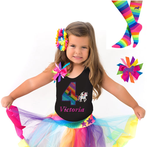 4th Birthday Unicorn Shirt Rainbow Party Outfit 4PC Set - Outfit - Bubblegum Divas Store