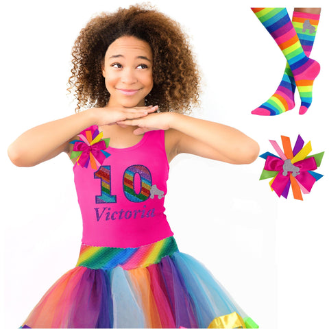 Roller Skate Shirt Rainbow Tutu Girls Party Outfit 2PC Set