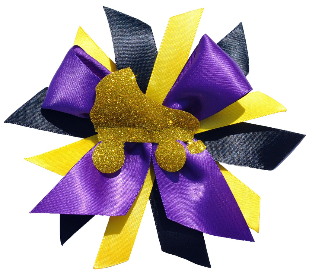 Gold Roller Skate Hair Bow