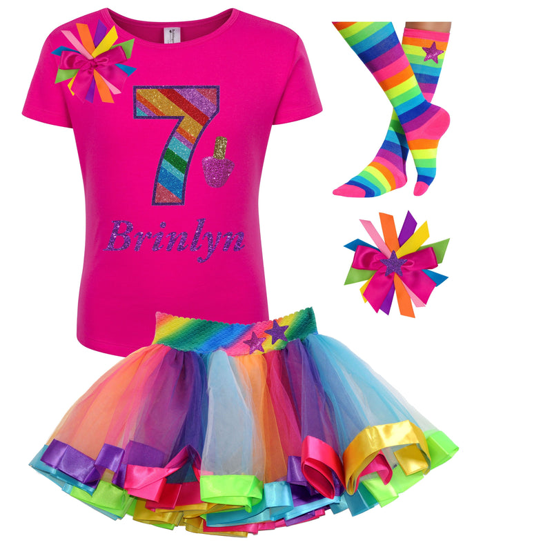 Girls Spa Party Birthday Shirt Rainbow Party Tutu Outfit - Outfit - Bubblegum Divas Store