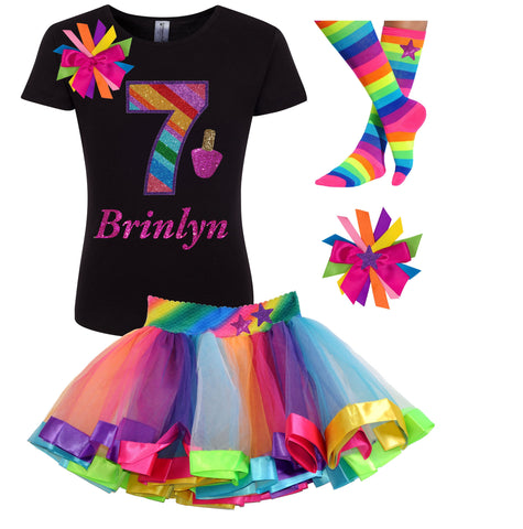 7th Birthday Unicorn Shirt Rainbow Party Outfit 4PC Set