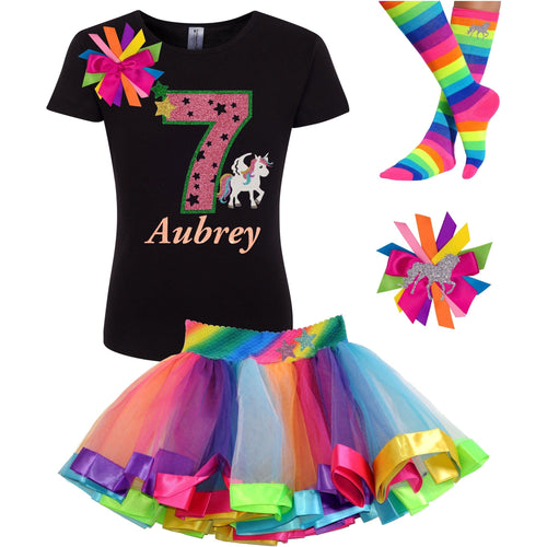 7th Birthday Unicorn Shirt 7 Rainbow Party Outfit 4PC Set