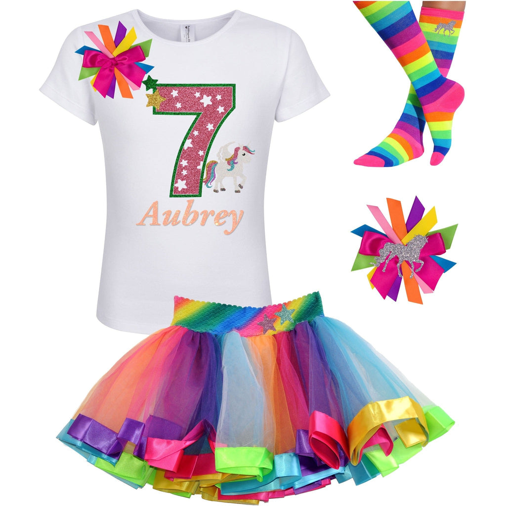 7th Birthday Outfit - Star Unicorn - Outfit - Bubblegum Divas Store
