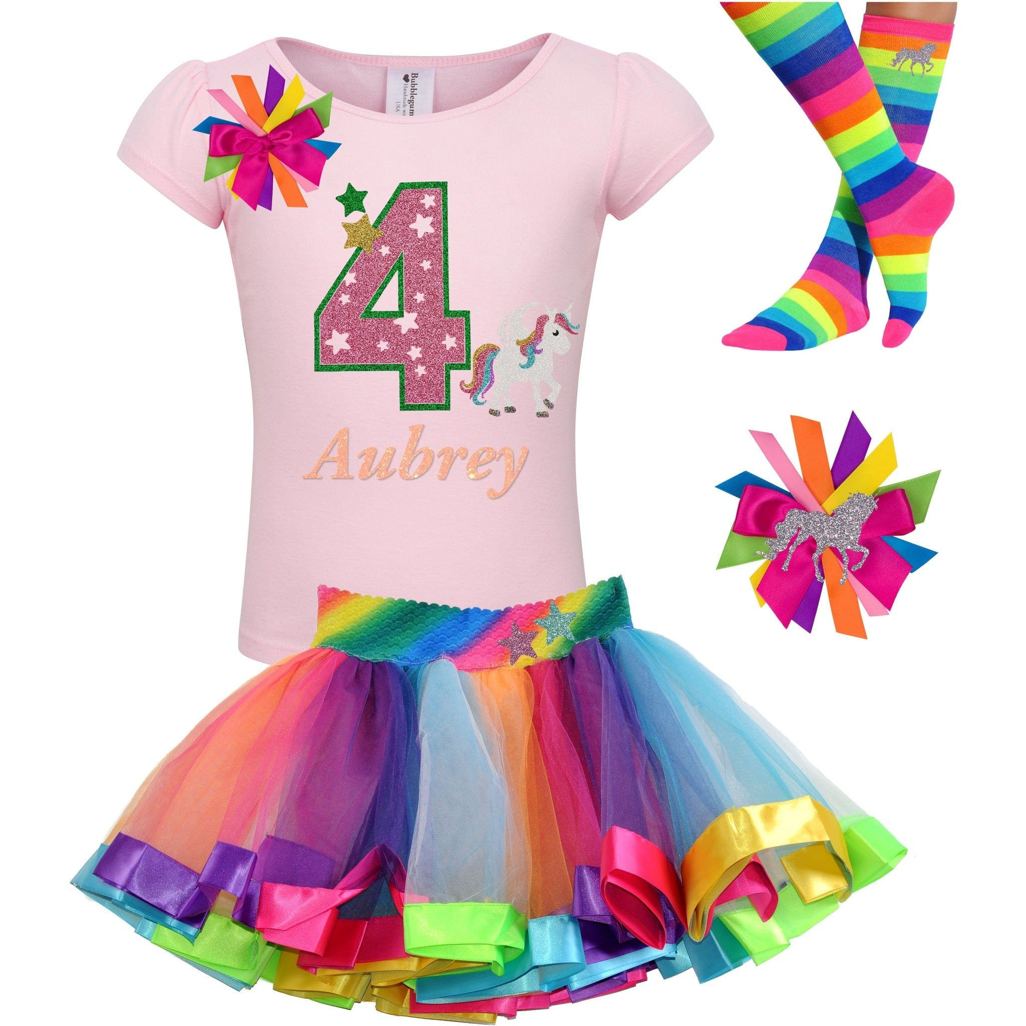 4th Birthday Unicorn Shirt 4 Rainbow Party Outfit Star 4PC Set