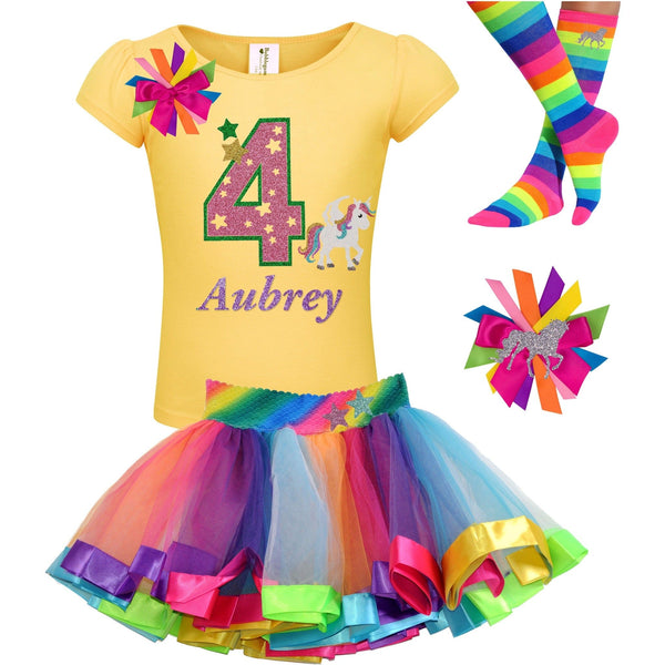 4th Birthday Unicorn Shirt 4 Rainbow Party Outfit Star 4PC Set - Outfit - Bubblegum Divas Store