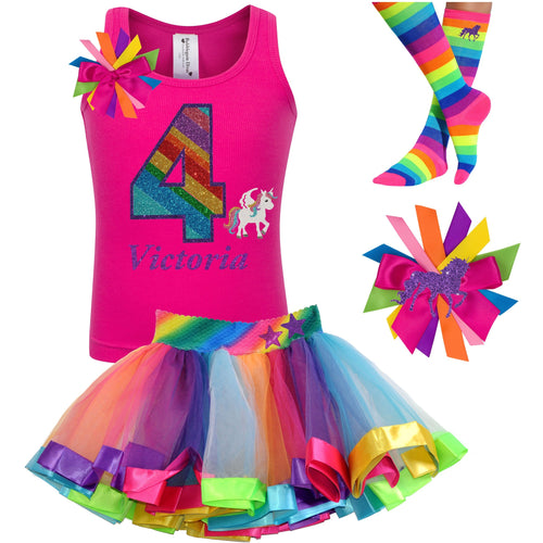 4th Birthday Unicorn Shirt Rainbow Party Outfit 4PC Set