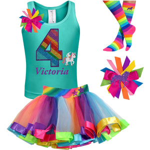 4th Birthday Outfit - Rainbow Unicorn - Outfit - Bubblegum Divas Store