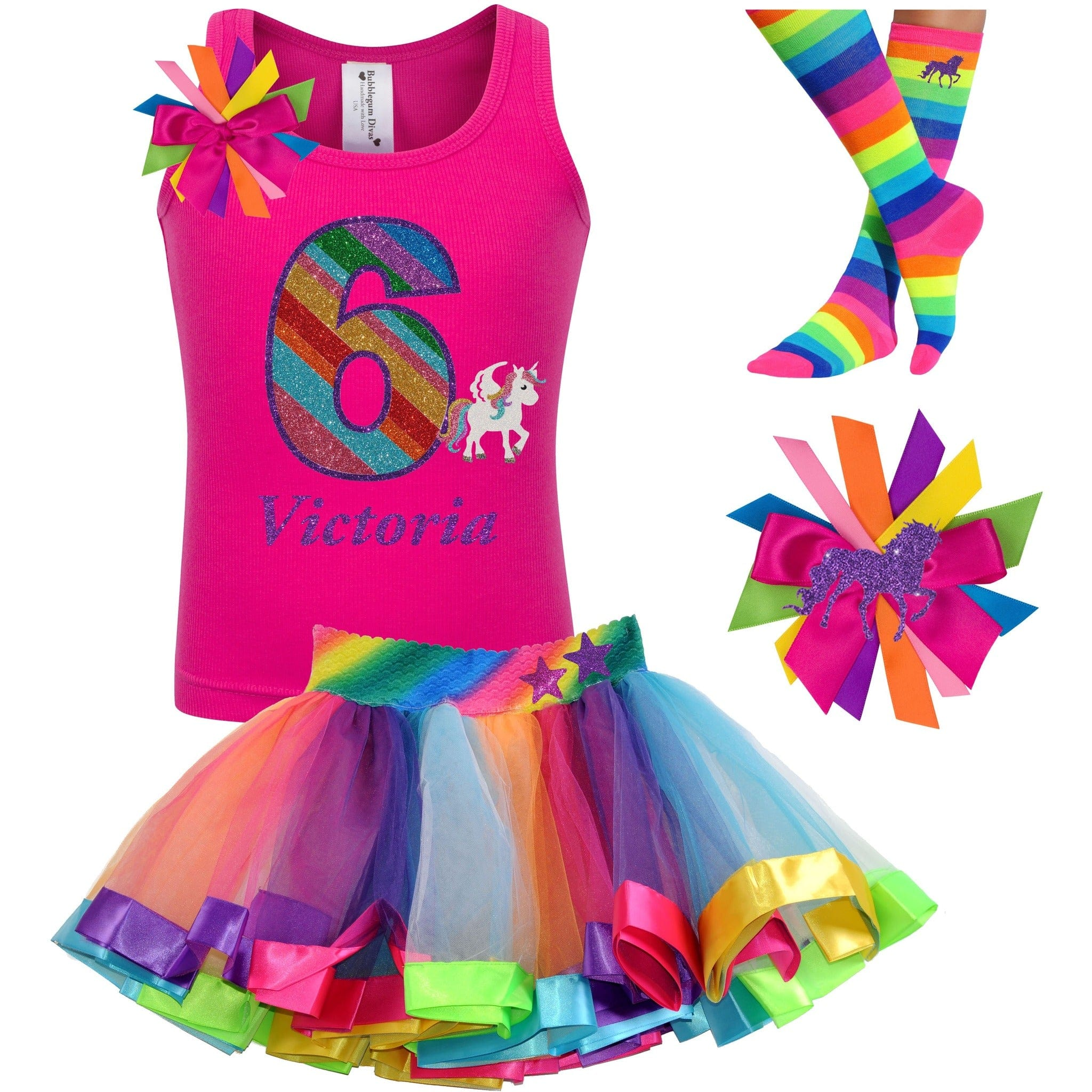 6th Birthday Unicorn Shirt Rainbow Party Outfit 4PC Set