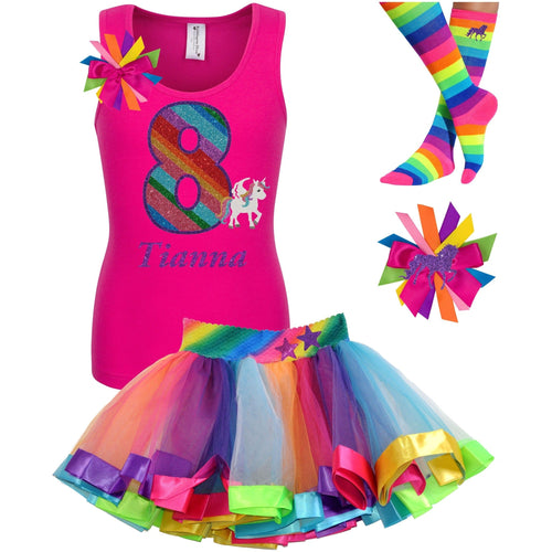 8th Birthday Unicorn Shirt Rainbow Party Outfit 4PC Set - Outfit - Bubblegum Divas Store